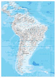 South America Detailed Physical Map Royalty Free Stock Photos