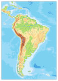 South America Detailed Physical Map with global relief, lakes an Royalty Free Stock Photo