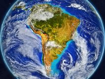 South America on Earth with borders. South America on realistic model of planet Earth with country borders and very detailed planet surface and clouds. 3D vector illustration