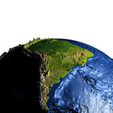 South America on Earth with exaggerated mountains. South America on model of Earth with exaggerated surface features including ocean floor. 3D illustration Royalty Free Stock Image