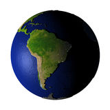 South America on Earth isolated on white Royalty Free Stock Images