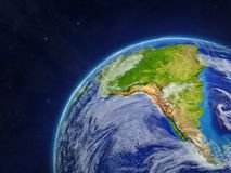 South America on Earth. South America on model of planet Earth with very detailed planet surface and clouds. 3D illustration. Elements of this image furnished by stock illustration