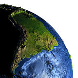 South America on Earth at night with exaggerated mountains Royalty Free Stock Photography