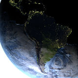 South America on Earth at night - visible ocean floor Royalty Free Stock Images