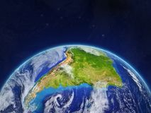 South America on Earth. South America on planet planet Earth in space. Extremely detailed planet surface and clouds. 3D illustration. Elements of this image stock photos