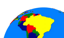 South America on Earth political map Royalty Free Stock Photos