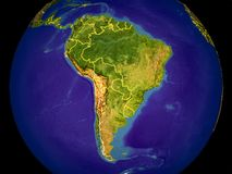 South America on Earth. South America from space on Earth with country borders. Very fine detail of the plastic planet surface and blue oceans. 3D illustration royalty free stock photos