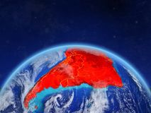South America on Earth from space. South America on planet Earth with country borders and highly detailed planet surface and clouds. 3D illustration. Elements of stock images