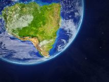 South America on Earth from space. South America on realistic model of planet Earth with very detailed planet surface and clouds. 3D illustration. Elements of royalty free illustration