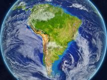 South America on Earth from space. South America from space on realistic model of planet Earth with very detailed planet surface and clouds. 3D illustration vector illustration