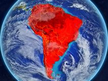 South America on Earth from space. South America from space on model of planet Earth with country borders. Extremely fine detail of planet surface and clouds. 3D royalty free illustration
