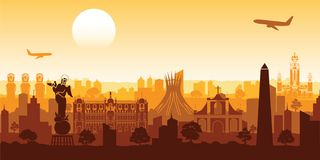 South america famous landmark silhouette style with row design o Stock Photography