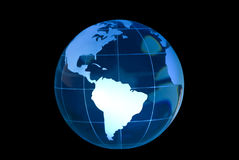 South America Featured on Glass Globe. Clear glass globe lit to feature South America.  Globe against black background Stock Photos