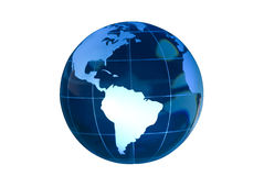 South America Featured on Glass Globe White BG. Clear glass globe lit to feature South America.  Globe against white background Stock Photography
