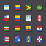South America flag icon set Metro style Royalty Free Stock Image