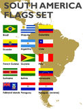 South America flags set. Flags of all South American countries, 100% vector Stock Image