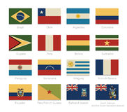 South America flags with a vintage colors Stock Photos