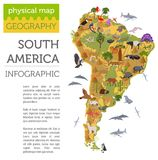 South America flora and fauna map, flat elements. Animals, birds Stock Image
