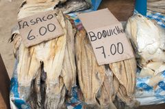 South America, Fried fish on the market in the Iquitos major city in Amazonia. royalty free stock image
