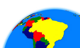 South America on globe political map Stock Photo
