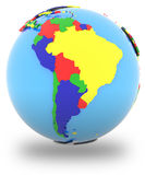 South America on the globe Royalty Free Stock Images
