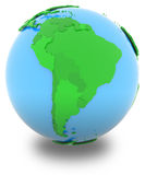 South America on the globe Stock Photos