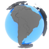 South America on the globe Royalty Free Stock Photos