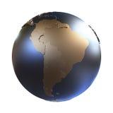 South America on golden metallic Earth Stock Photography