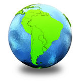 South America on green Earth Stock Images