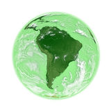 South America on green Earth Stock Photo