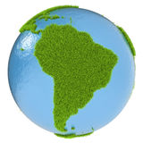 South America on green planet Royalty Free Stock Photo