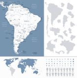 South America Highly Detailed Map and World Map Stock Photo
