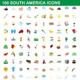 100 south america icons set, cartoon style. 100 south america icons set in cartoon style for any design illustration vector illustration
