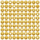 100 South America icons set gold. 100 South America icons set in gold circle isolated on white vector illustration Stock Photography