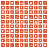100 South America icons set grunge orange. 100 South America icons set in grunge style orange color isolated on white background vector illustration Royalty Free Stock Photo
