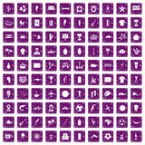 100 South America icons set grunge purple. 100 South America icons set in grunge style purple color isolated on white background vector illustration Royalty Free Stock Images