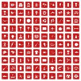 100 South America icons set grunge red. 100 South America icons set in grunge style red color isolated on white background vector illustration Royalty Free Stock Image