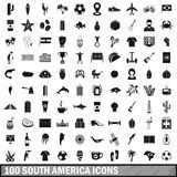 100 South America icons set, simple style. 100 South America icons set in simple style for any design vector illustration Stock Photo