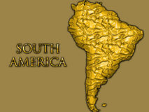 South America map. A gold map of South America Royalty Free Stock Photos