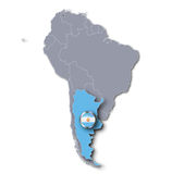 South America map with Argentina Royalty Free Stock Images