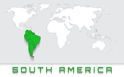 South America on the map. Blank map of the world with green highlighted continent of south america Stock Image