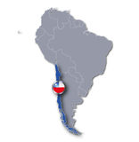 South america map with Chile Stock Images