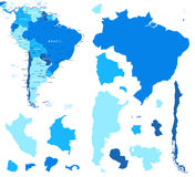 South America map and country contours - Illustration. Stock Photos