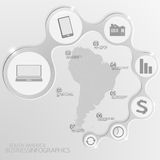 South America Map and Elements Infographic. Vector illustration Royalty Free Stock Images