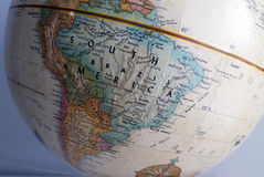 South america map on globe. Close up of south america on a globe stock photography