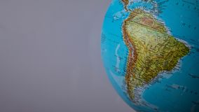 South America map on a globe with a white background.  royalty free stock photos