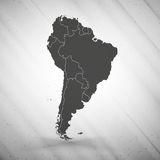 South America map on gray background, grunge Stock Photography