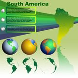 South America map on green background vector. South America map with shadow on green background with world globes vector Stock Image