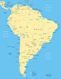 South America - map - illustration. Royalty Free Stock Images
