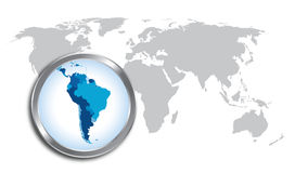 South America Map. With magnifier glass Royalty Free Stock Photography